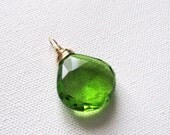 Lime Green Quartz Large Heart Cut Briolette Goldfilled Wire Wrapped Pendant UK Seller Contemporary Gift Idea