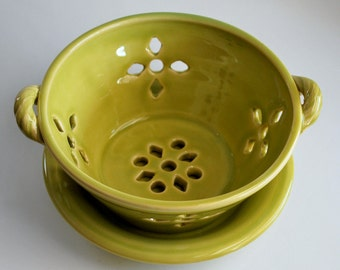 Yellow Berry Bowl or Colander with Saucer Stoneware Pottery Ready to Ship