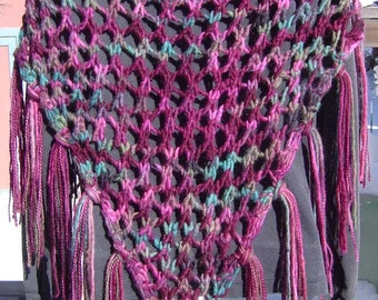 On SALE Cottage Rose Hand Knitted Triangle Shawl Scarf 100% Wool Hand Painted Yarn Burgundy Mauve Pink Leafy Green
