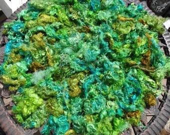 Leafy Yearling Mohair Locks Spin Felt Fiber Art Doll Hair Greens Golds 4 ounce Batches