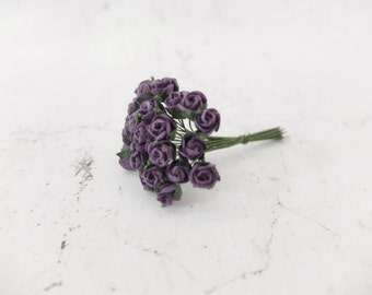 25 7mm dark purple paper rose buds with wire stems