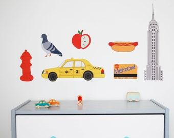 NYC Fabric Wall Decal Set, Nursery Wall Art, Nursery Wall Decal, Wall Decals Nursery, NYC Decor for Nursery Made in USA