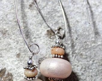 Pink Opal & Lampwork Earring