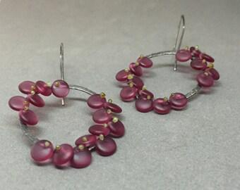 short drop organic bloom bead earrings in berry wine beaded dangle kinetic earrings oxidized sterling art earrings sculptural statement
