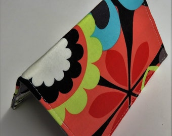 Sample Sale Clearance - Passport Cover Case Holder Travel Cruise Holiday Vacation - Bright Multi Color Mod Flowers
