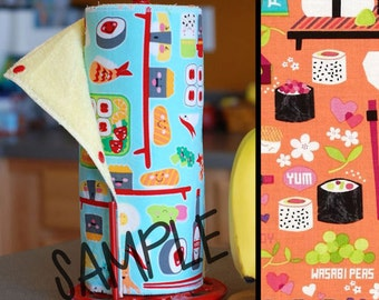 Tree Saver Towels - Happy Sushi - Reusable, Eco-Friendly, Snapping Paper Towel Set - Cotton and Terry Cloth