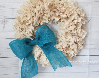 Burlap and Muslin Rag Wreath with Turquoise Bow Rustic Decor Round 16""