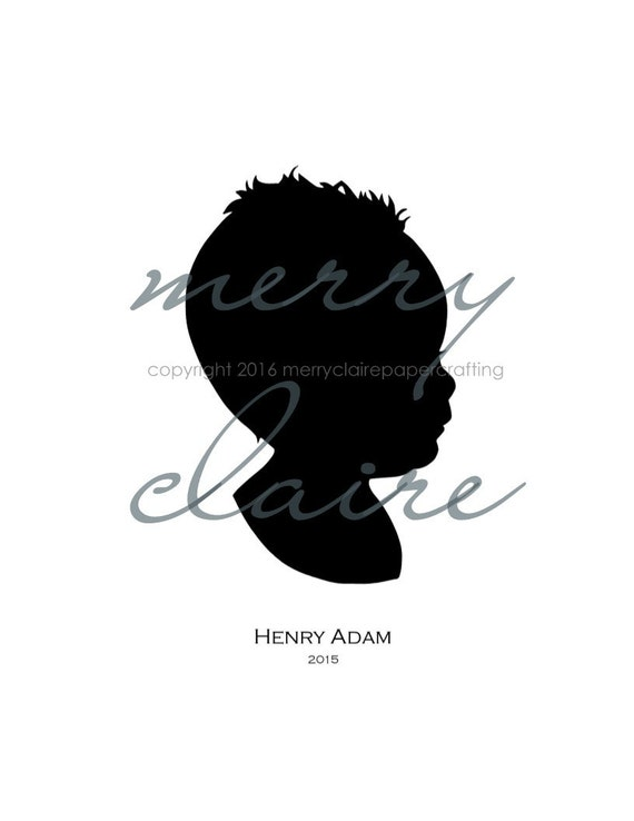 Silhouette, Custom Hand-cut Silhouette Portrait Featuring Your Little One