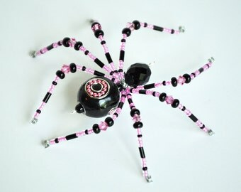 Ariella - hot pink and black glass beaded spider goth sun catcher - Halloween decoration - Christmas ornament