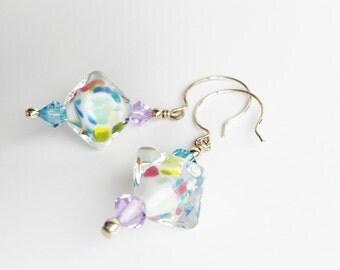 Confetti - pink, purple, blue, green glass beaded lampwork earrings - dangle earrings - drop earrings