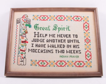 Vintage Native American Wall Hanging Needlepoint Cross Stitch Saying - Walk A Mile In Moccasins ~ The Pink Room ~ 170118