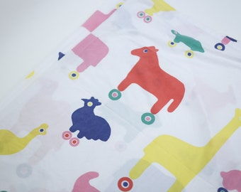 Little Tykes Animal Pals Wagon N' Friends RARE Flat Sheet - Coloful Animals On Wheels Fabric
