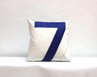 Nautical Number 7 Eco Accent Recycled Sail Throw Pillow