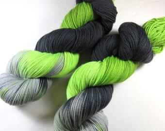 Hand Painted Superwash Merino/Nylon 2-Ply Sock/Fingering Yarn -- Caution Zombie