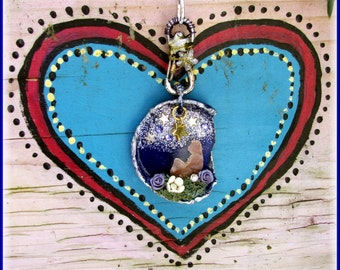 The Dreamer Mixed Media Assemblage Pendant Necklace Bromo Seltzer Glass Altered Art Found Object Collage One of a Kind Keepsake Cobalt
