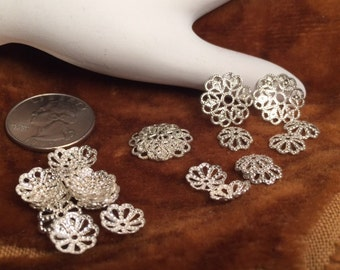 DESTASH Lot, Bright Sterling Silverplated Bead Caps, 4 pcs. 16mm, 22 pcs. 10mm, filigree stamping, bead caps