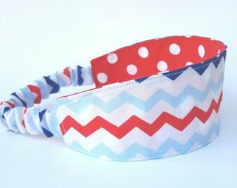 July 4th Headband, Reversible Headband, Patriotic Headband, Chevron Head Band, Hair Wrap, Red, White and Blue, Wide Head Wrap, Hairband
