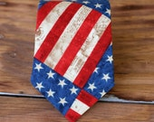 Independence Day, July 4th boys necktie - American flag neckties - red, white, cream boys necktie - USA neck tie - holiday gift