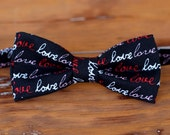Mens Valentines Day bowtie, gift for valentine, black cotton bowtie, love bow tie, romantic wedding bow tie, gift for husband, fathers day