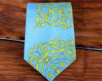 Boys Cotton Necktie - Blue Organic Cotton Clothing Tie - neckties for infant, baby, toddler, child - woven boys ties - pre tied, adjustable