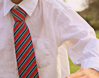 Boys red blue necktie - blue red wedding tie - boys cotton necktie - todder necktie - smash cake birthday tie - first birthday tie - gift