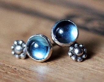 Blue topaz stud earrings, boho earring studs, cabochon stud earrings, sterling silver, daisy stud earrings, December birthstone earrings