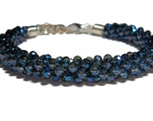 Kumihimo beaded bracelet Montana Blue color crystal beads