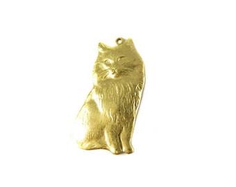 """Brass """"Fancy Feast"""" Cat Charms (4X) (M858)"""