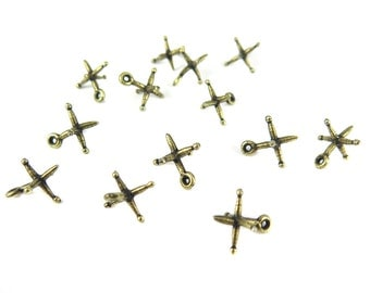 Antiqued Brass Jack Charms - (4x) (M876)