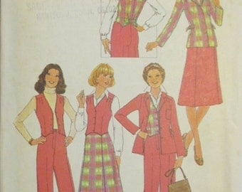 50% OFF SALE Vintage Sewing Pattern 1970s Simplicity 7999 Misses Vest, Pants, Skirt & Jacket Pattern Size 10 Uncut