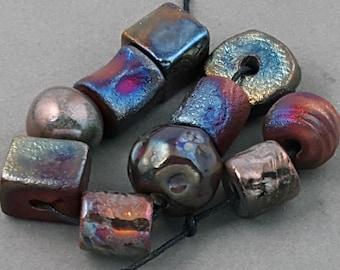 Raku Bead Mix Of Ten