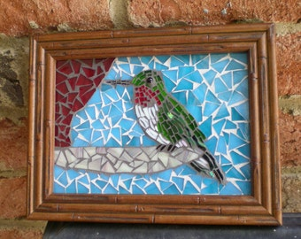 Framed Stained Glass Mosaic Hummingbird Wall Art