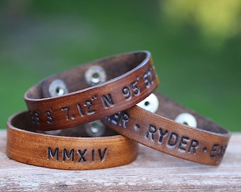 Custom Handstamped Thin Leather Cuff Bracelet