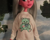 Pastel Teddy Bear Fairy Kei Shirt for Large Slim Monster Dolls and MSD BJD