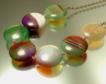 Handmade jewelry rose gold plated / fill and banded green brown agate necklace - jewelry jewellery UK seller