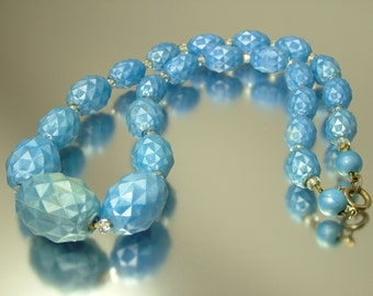 Vintage/ estate 1960s German space age, blue, plastic bead costume necklace - jewelry jewellery UK seller