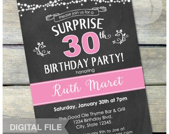 "Surprise 30th Birthday Party Chalkboard Invitation - Any Age - Digital Invite - 5"" x 7"" - Digital Printable"