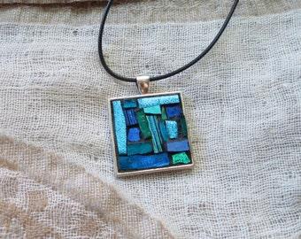 Blue Jewel Tone Mosaic Patchwork Pendant