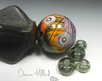Artisan Lampwork Focal Bead Handmade Donna Millard lampwork beads boho tribal hippie hip bohemian gift her orange pink black