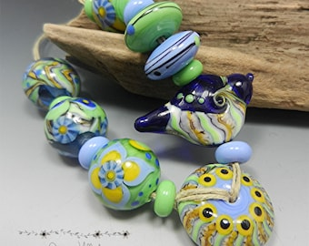 SRA HANDMADE LAMPWORK Glass Bead Set Donna Millard blue green yellow bird sparrow earrings bracelet necklace spring summer hip hippie