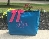 Monogrammed Tote Bag Turquoise Bride Bridal Party Girl Baby Girl Gift Dance Swim Personalized Embroidered Turquoise Pink