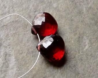 AAA GARNET Faceted Heart Briolette Beads - 9mm