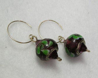 Glass Bead Earrings Purple with Green Flowers Sterling Wires