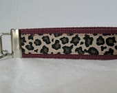 Cheetah Key Chain -Cheetah Key Fob - Wristlet - Animal Print MAROON Key Ring - Large Keychain