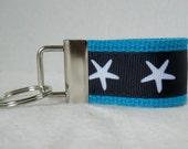 Starfish Mini Key Chain - Beach Key Fob - Navy on TURQUOISE - Starfish Zipper Pull - Nautical Key Ring  - Beach Wedding Favor