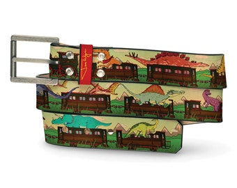 Dino Train Leather Belt, Dinosaur Belt, Leather Belt Trains Travel Railroad