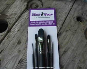 Black Swan paint brushes of 5 for oil and acrylic size 0,2,8,12 & 20 filbert brand new brushes with the feel of red sable