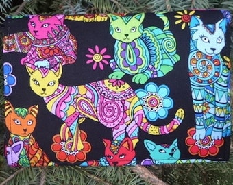 Cat Wallet on a String, security wallet, travel wallet, passport wallet, Coloring Book Cats