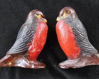 Vintage Goofus Glass Bird Figurine Robin Red Breast X Two