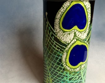 Hand painted Peacock feather ceramic vase or wine bottle cooler chiller green black and blue